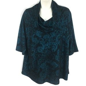 Catherines Black Teal Damask Tunic Top Womens 2X
